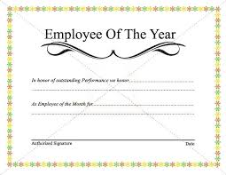 Employee Award Of The Year Template Month Certificate