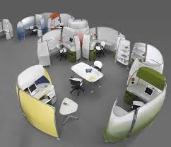 office cubicle layout ideas. Smart And Exciting Office Cubicles Design Ideas : Futuristic Oval Cubicle With Colorful Layout