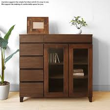 width 90 cm walnut material walnut solid wood natural wood glass doors movable shelf simple modern design side cabinet sideboard chest ornament shelves