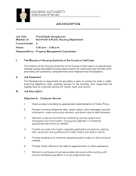 front desk job description for resume