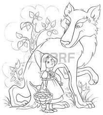 Stock Photo Sprookje Roodkapje Wolf Roodkapje En Illustratie