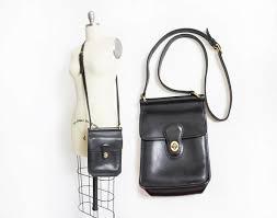 vintage coach purse 80s black leather coach willis adjustable cross satchel bag by dejavintageboutique