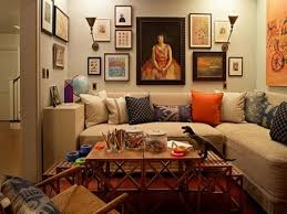 ... Large Size Fantastic Small Space Bohemian Apartment Decor Living Room  With L Shape Cozy Laminated Fabric ...