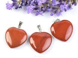 red jasper heart pendant fixture bižu