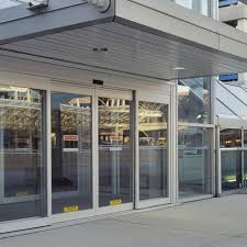 automatic glass aluminium sliding doors