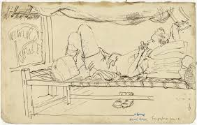 bed drawing. file:soldier lying on a bed, drawing by searle. art.iwmart15746a1. bed