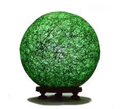 dark green ball table lamp with banana fiber and wooden base