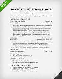 Executive Security Guard Sample Resume