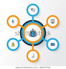 Unity Pie Chart Job Colorful Outline Icons Set Collection Stock Image