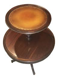 vintage leather top 2 tier dumbwaiter round side table chairish
