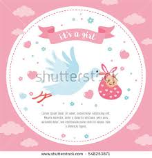 newborn baby announcement sample baby shower frame stork carrying cute stock vector 2018 548253871