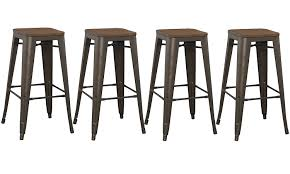 Amazon.com: BTExpert Bar Stool, Modern Solid Steel Stacking Industrial  Rustic Metal with Wood Top Set of 4 Barstool: Kitchen & Dining