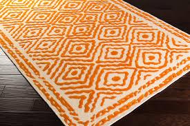 lacefield for surya ats 1003 orange wool rug corner