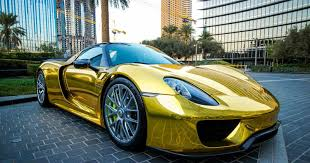 coveted sports car porsche porsche 918 gold chrome