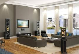 Living Room With Gray Theme And Wood Floors  Modern Living Room Contemporary Living Room Colors