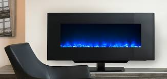 simplifire 38 inch wall mount with blue flame on stand