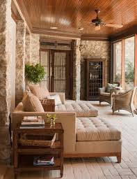 Designs Ideas:Traditional Sunroom With Brown Sofa Beds And Small Side Table  And Stone Wall Plus Wicker Furniture 16 Best Sunroom Furniture Ideas for  Your ...