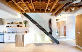 open beam ceiling lighting. Exposed Ceiling Lighting Staircase Industrial With Joists Open Riser Stair Wood Beam