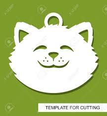 Cut Out Character Template Cat Head Silhouette Hanging Toy Or Pendant White Cartoon Character