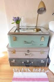 Vintage suitcase nightstand - cute - I want to do this but use it as the