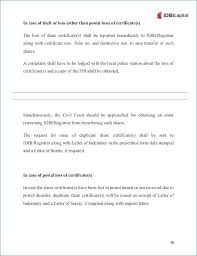 capital format of letter indemnity for lost instruments surety promissory letter format