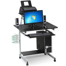 com go2 small spaces computer desk with keyboard tray drawer and printer shelves mobile laptop table workstation with monitor stand on wheels