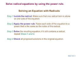 solving an equation with radicals
