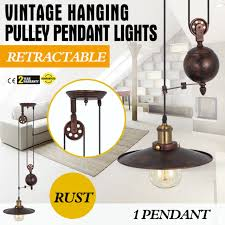 vintage hanging ceiling light pendant industrial retro retractable pulley lamps