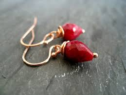 Items similar to Ruby <b>dangle earrings</b> Rose Gold Berry <b>Red Heart</b> ...