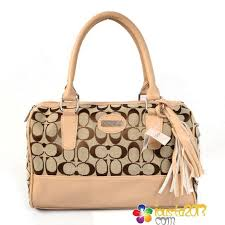 Coach Legacy Weekend Signature Medium Apricot Satchels In