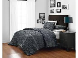 ruched king cal king size charcoal grey 3 piece duvet cover set with 1pc