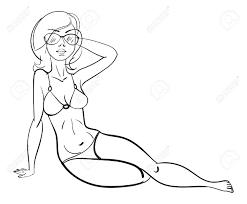 美しい少女はビーチでの日光浴します面白い漫画のキャラクターベクトルの図塗り絵黒と白