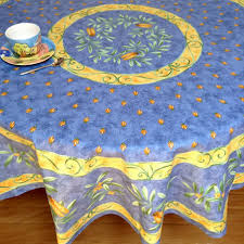 olive design coated provence tablecloth 180 cm round 70in round coated french tablecloth
