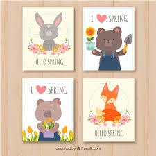 Spring Photo Cards Spring Cards Collection In Flat Style Vector Free Download