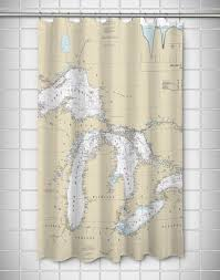 Great Lakes Nautical Chart Shower Curtain Island Girl Home