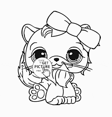 Littlest Pet Shop Cute Cat Coloring Page For Kids Animal For Lps