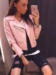 details about authentic zara pastel pink pu faux leather effect biker jacket with zip 3046 221