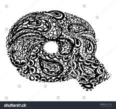 Letter Q. Decorative Alphabet with a paisley zen doodle tattoo ornaments  filling. Display font