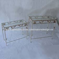 china console table rectangular gold glass metal leaves
