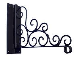 heavy duty wall mount basket bracket with decorative scrolls