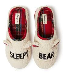 Dearfoam Size Chart Dearfoams White Red Plaid Sleep Bear Slipper Adult