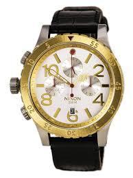 nixon a3631884 men s the 48 20 chrono silver dial black leather strap lefty dive watch com