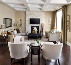 Decorating A Long Narrow Living Room With Fireplace Under Flat Screen Tv  And Using Black Leather
