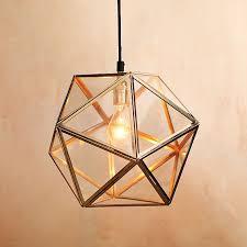 geometric lighting. modern geometric faceted glass pendant light from west elm lighting h