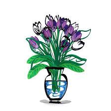 metal artwork purple tulip flower in