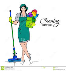 Cleaning Homes Jobs Woman In Uniform Cleaning Services Stock Vector