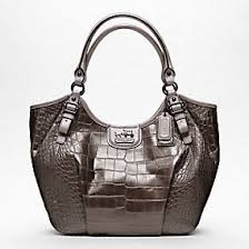 THE COACH MADISON EMBOSSED CROC ABIGAIL SHOULDER BAG OUTLET
