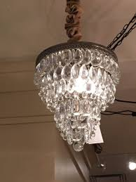 pottery barn clarissa glass drop small 13 round crystal chandelier
