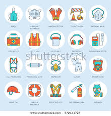 personal protective equipment stock images royalty images personal protective equipment line icons gas mask ring buoy respirator bump cap