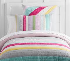 Twin Quilted Bedding | Pottery Barn Kids & Bright Stripe Girl Quilt, Twin, Multi Adamdwight.com